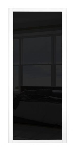 Shaker Sliding Wardrobe Door- WHITE FRAME- BLACK GLASS GLASS SINGLE PANEL